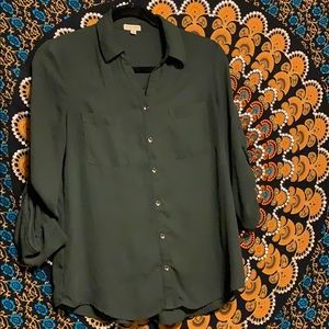 Forest Green Button Down Blouse